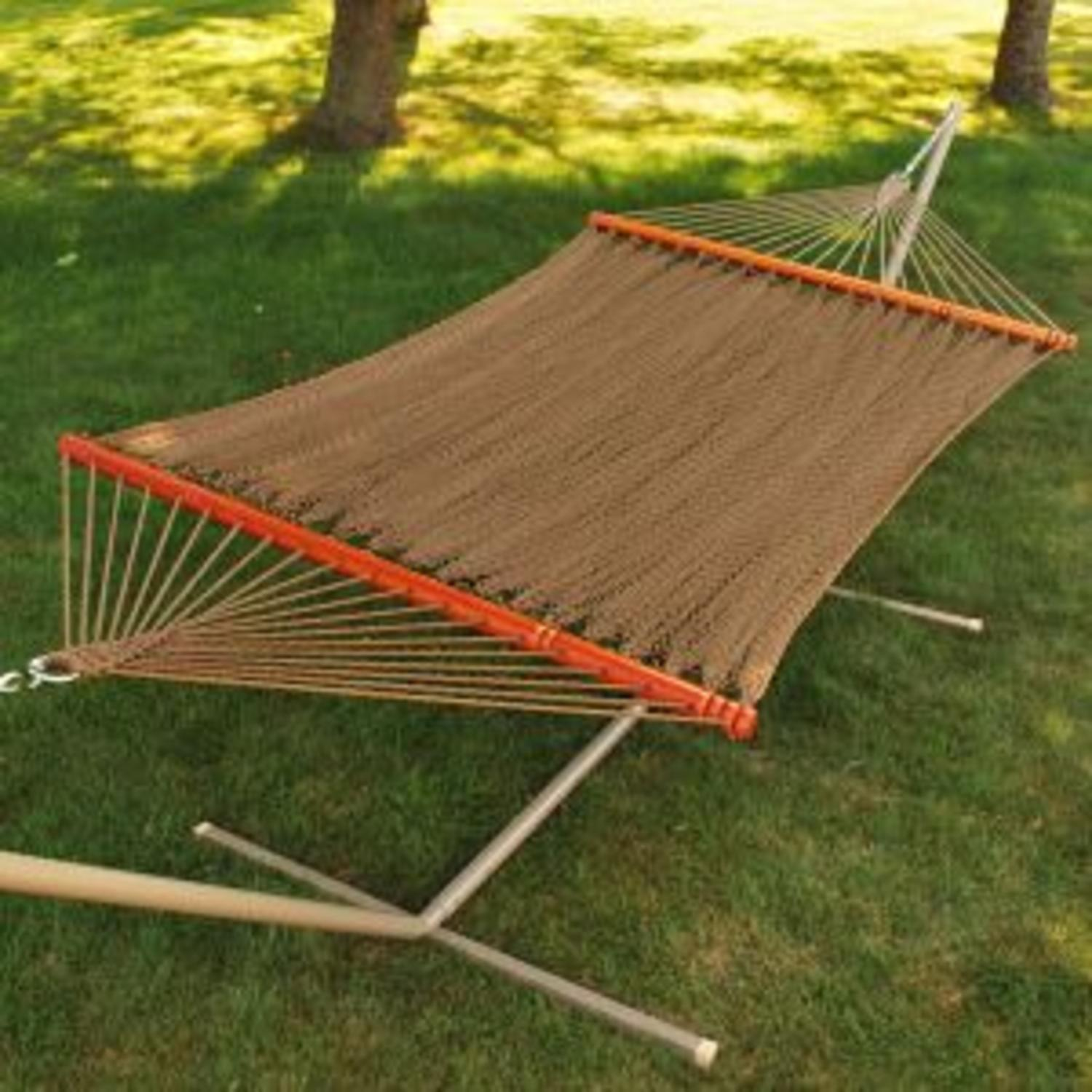 """82"""" x 55"""" Tight Weave Golden Brown Soft Polyester Rope Caribbean Double Hammock"""