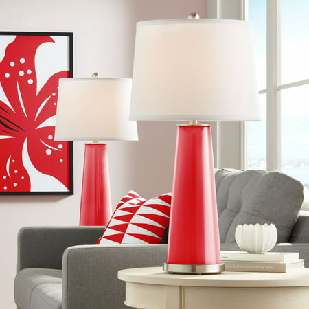 Bright Stripes Lamp Shade Top (Color Plus Modern Table Lamps Set of 2 Bright Red Glass Tapered Column Plain White Drum Shade for Living Room Family)