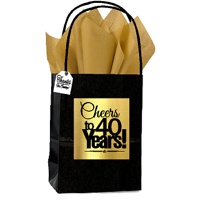 Black & Gold 40th Birthday / Anniversary Cheers Themed Small Party Favor Gift Bags with Tags -12pack