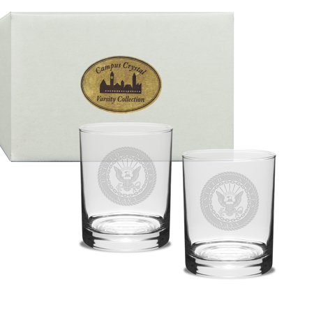 Us Navy Deep Etched Double Old Fashion Glass Set Of 2