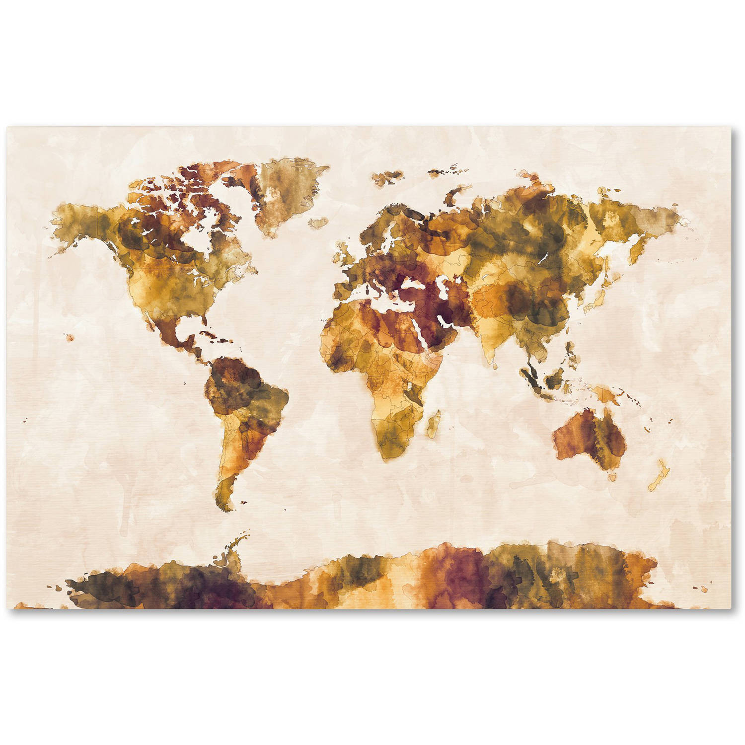 "Trademark Fine Art ""World Map Watercolor Painting"" Canvas Art by Michael Tompsett"