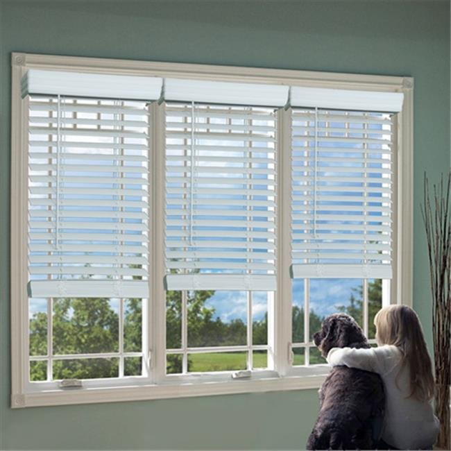 DEZ QJWT420720 2 in. Cordless Faux Wood Blind, White - 42...