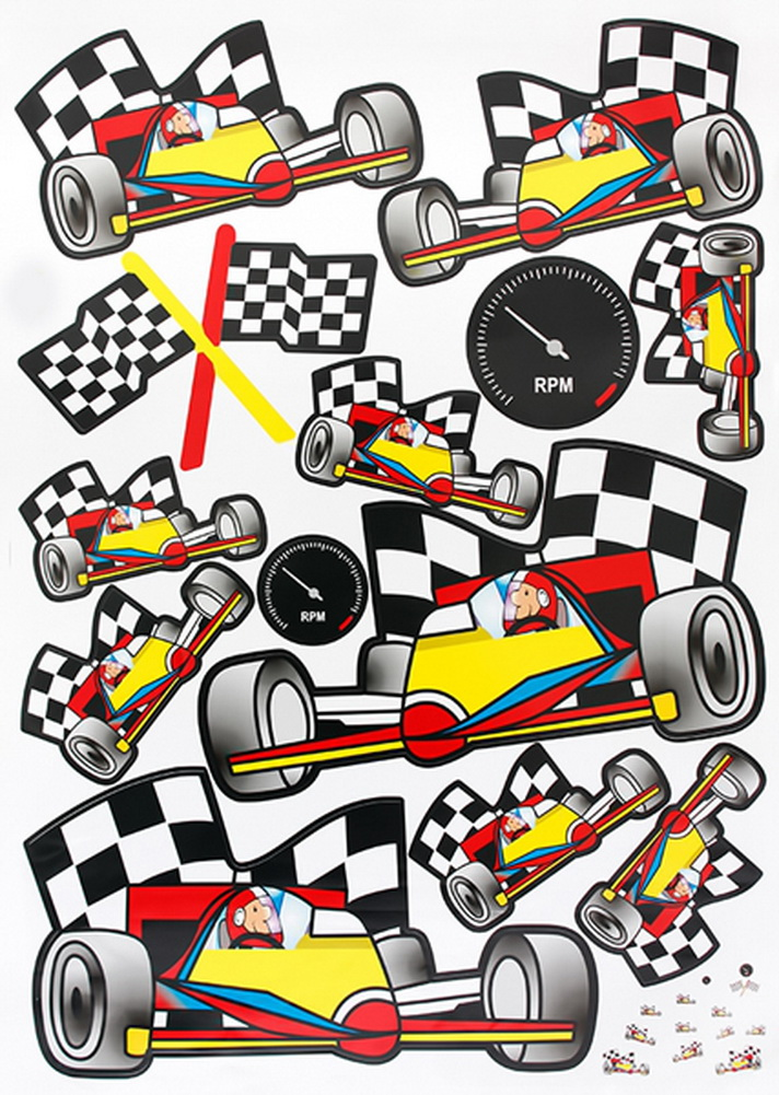 Racing cars large wall decals stickers appliques home decor