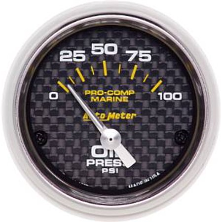 Auto Meter 200758-40 Oil Pressure  - 0-100PSI - Electronic - Carbon Fiber (Carbon Fiber Auto Oil Pressure Gauge)