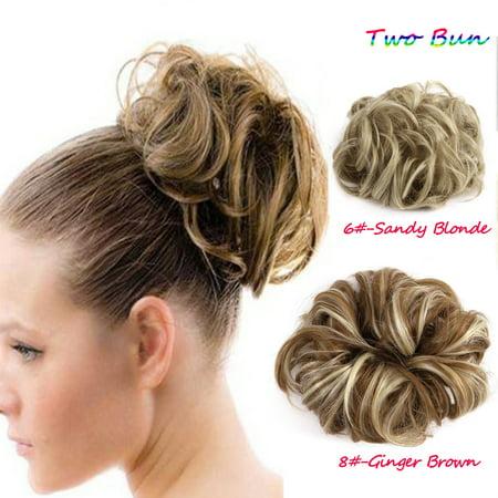 Elegant Woman Two Plastic Comb Synthetic Hair Clip In Big Hair Messy Dish Bun Chignon