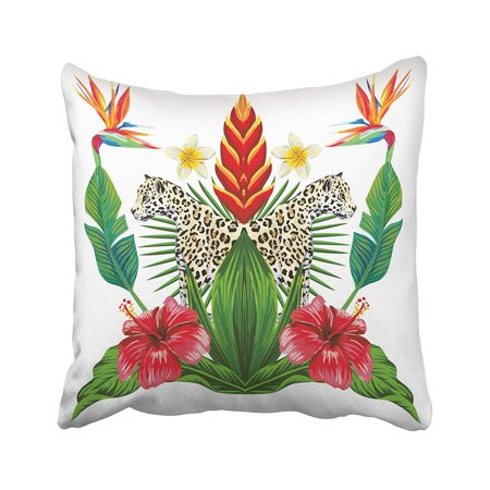 ARTJIA Composition Of Tropical Bouquet Hibiscus Flowers Bird Paradise Wild Animal Lioness Pillowcase Cover 18x18 inch ()