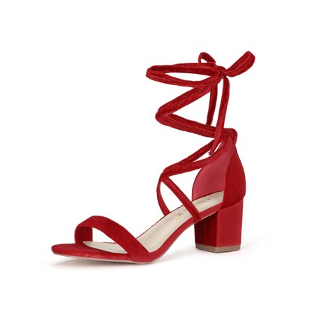 Black Lace Up Pump Heels - Unique Bargains Women's Mid Chunky Heeled Open Toe Lace Up Sandals Red (Size 7.5)