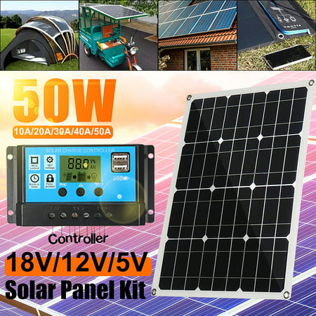 50 Watt 2 USB Monocrystalline Solar Panel Kit Car with Power Inverter for RV, Boat, Car Vehicle Off-Grid 12 Volt Battery Systems MC4 Output Battery