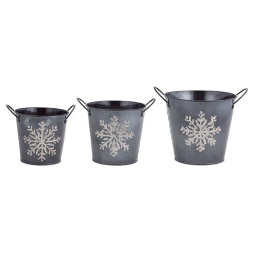 Set of 3 Decorative Gray Christmas Buckets with Silver Glitter Snowflake Designs