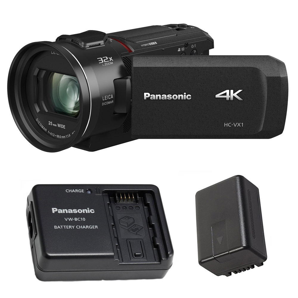 Panasonic HC-VX1 4K Camcorder with 24X Leica Lens and Battery Charger Pack by Panasonic