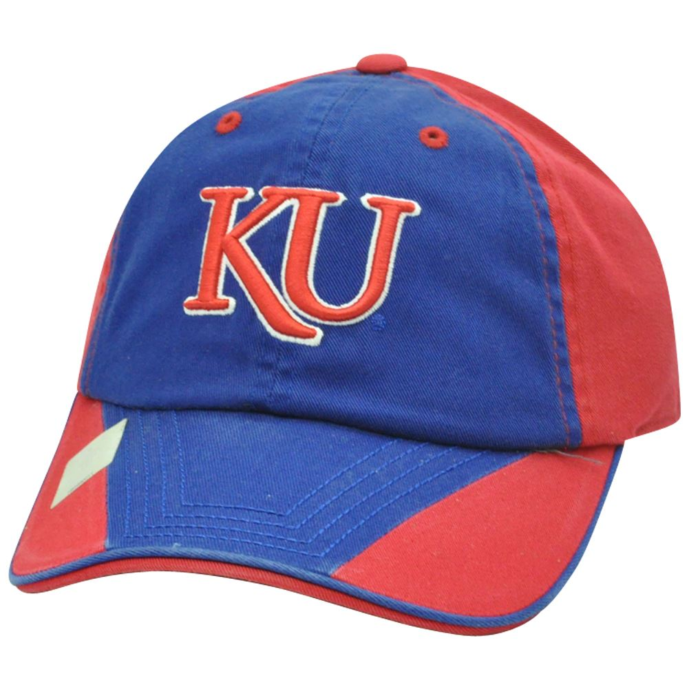 NCAA Kansas Jayhawks Garment Washed Two Tone Slouch Flip Blue Sun Buckle Hat Cap