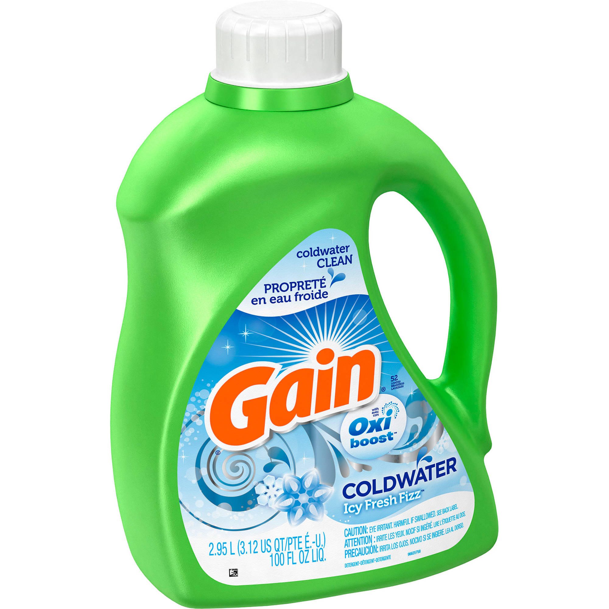 Gain Liquid Laundry Detergent, Icy Fresh Fizz Coldwater, 52 Loads, 100 fl oz