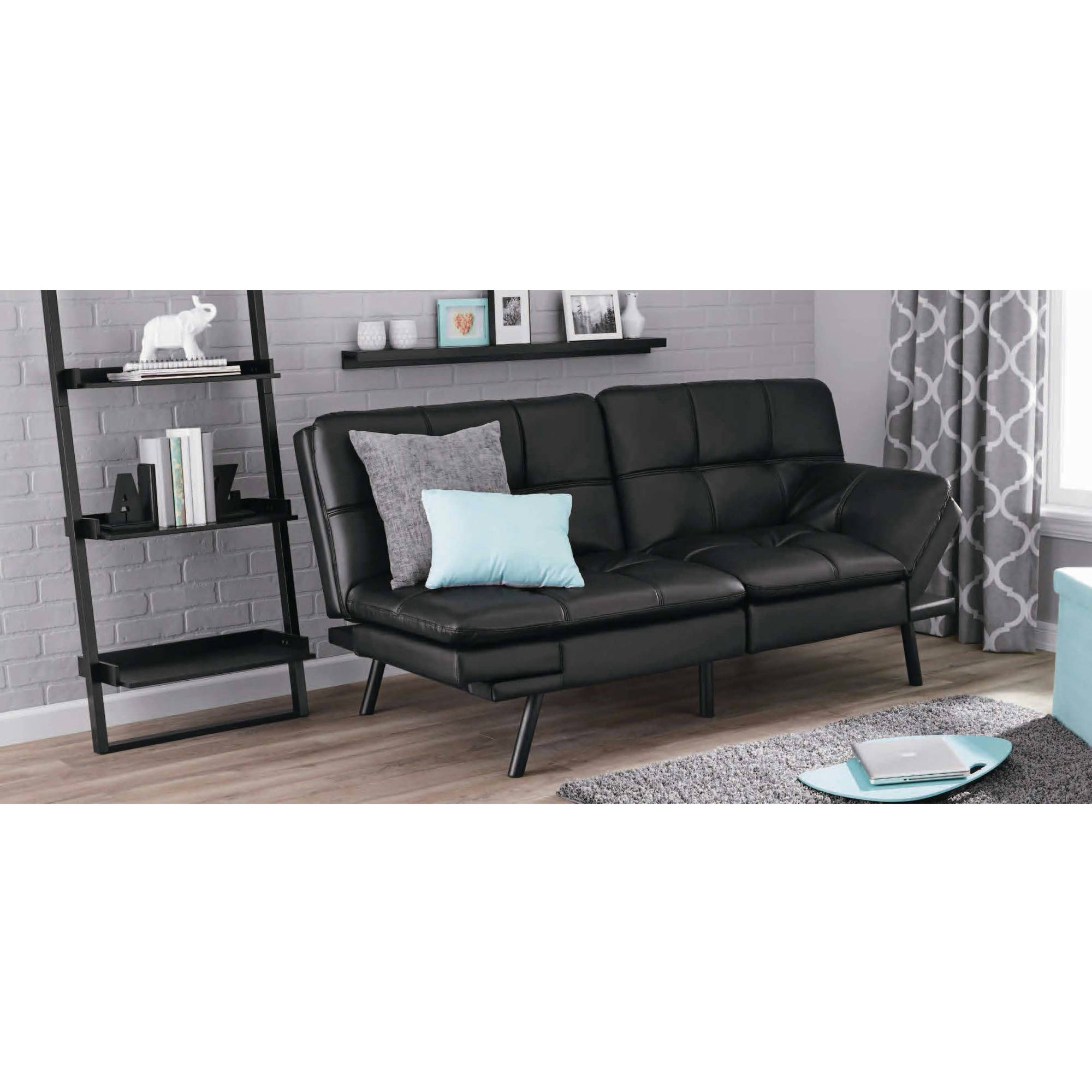 Mainstays Memory Foam Mattress Black Faux Leather Futon Arm Rest