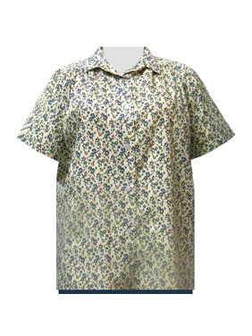 94d0b7731d5 Product Image A Personal Touch Women s Plus Size Short Sleeve Button-Up  Cotton Blouse with Shirring -