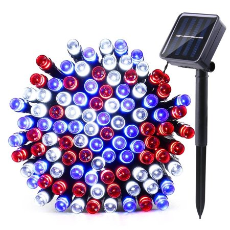 Qedertek Solar Christmas String Lights  39Ft 100 Led 8 Mode Decorative Lighting For Independence Day  Patio  Lawn  Garden  Wedding  Party  Home And Holiday Decorations  Red White Blue