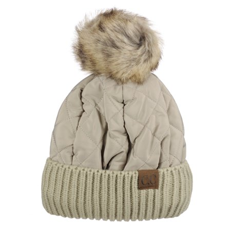 4aff0729bdf C.C Soft Quilted Puffer Detachable Faux Fur Pom Inner Lined Cuff Beanie Hat,  Taupe - Walmart.com