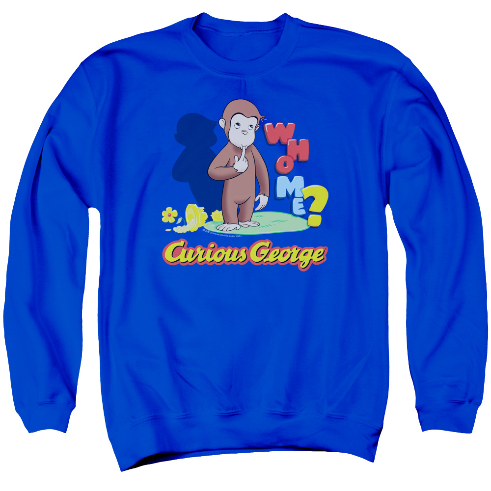 Curious George Who Me Mens Crewneck Sweatshirt