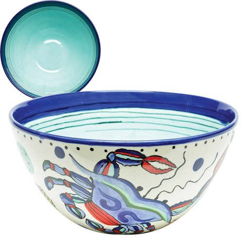Thompson and Elm Dana Wittmann Coastal Seafood Handpainted Ceramic Bowl