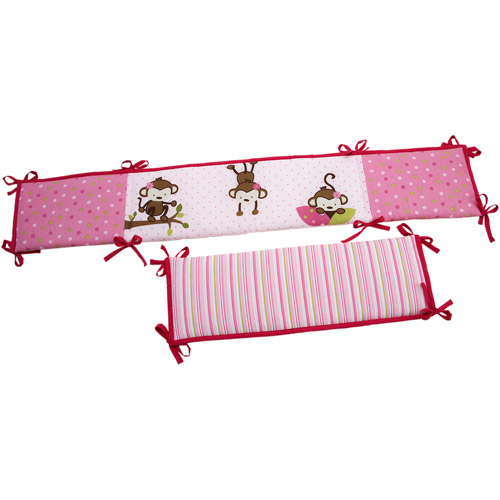 Little Bedding by NoJo 3 Little Monkeys Crib Bumper, Girl