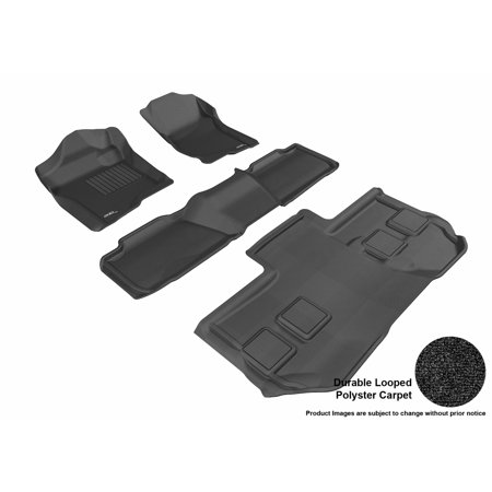 3D MAXpider 2011-2014 Chevrolet Suburban Front, Second, & Third Row Set All Weather Floor Liners in Black Carpet