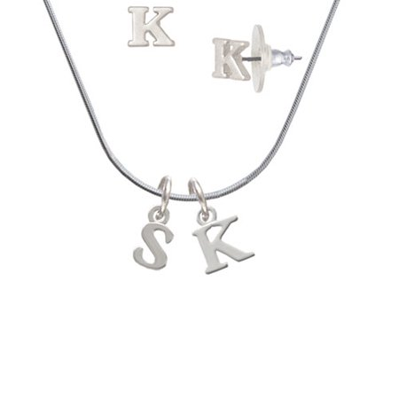 Small initial s k initial charm necklace and stud earrings small initial s k initial charm necklace and stud earrings jewelry set mozeypictures Image collections
