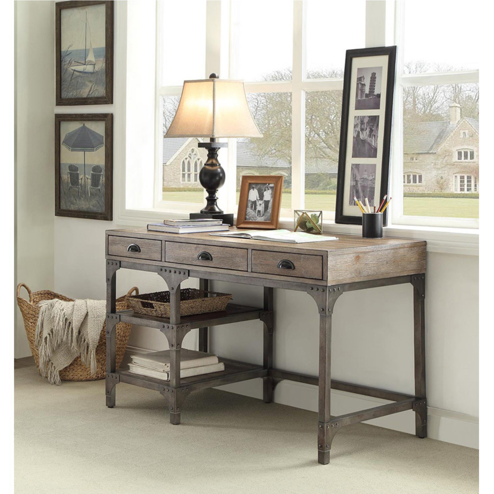 Acme Gorden Desk, Weathered Oak and Antique Silver