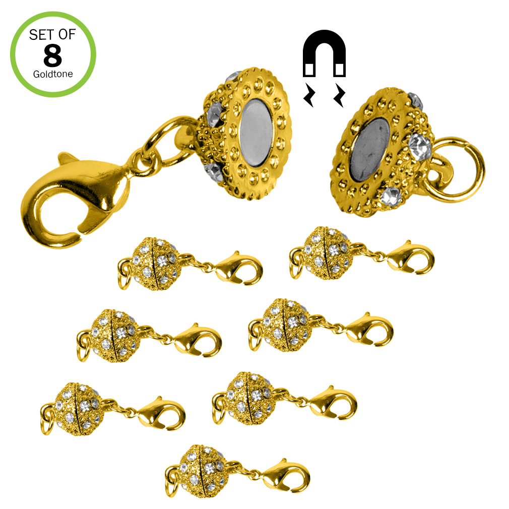 Evelots 8 Magnetic Jewelry Clasps, Rhinestone Ball Style,Goldtone Or Silvertone