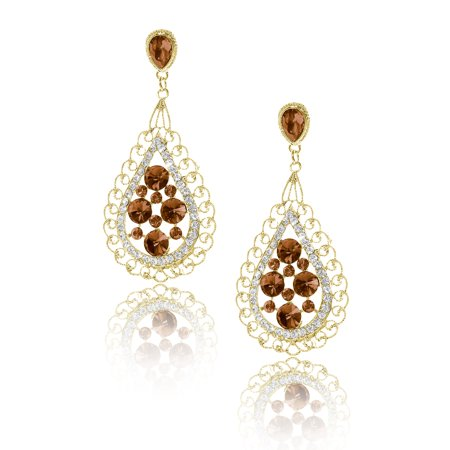 Ladies Bosimia Style Rhinestone Dangle Hook Waterdrop Earring Champagne
