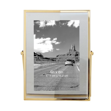 "Better Homes & Gardens Brass 4x6"" Floating Photo Frame with Metal Easel"