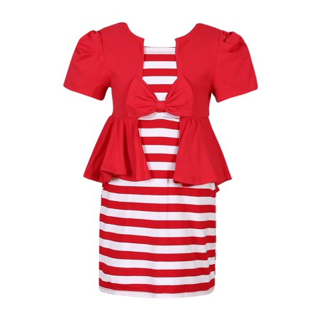 Richie House Girls' Summer Knit Striped Dress RH2444 (Girls Knit Dresses)