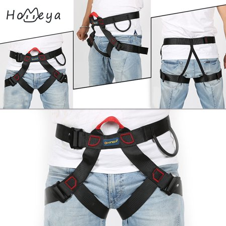 Climb Harness Seat Belts Safety for Rock Climbing Rappelling Equipment Speed,homeya Adjustable Outdoor Heavy Duty Tree Climbing Rappelling Belt Safety Harness Protective Gear Rappelling Harness Black ()