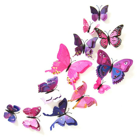ENJOY 12Pcs PVC 3D Butterfly wall decor cute Butterflies wall stickers art Decals home (Deco Decal)