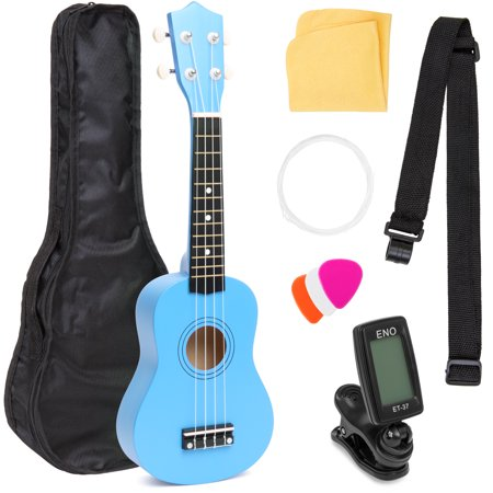 Best Choice Products Basswood Ukulele Musical Instrument Starter Kit w/ Waterproof Nylon Carrying Case, Strap, Picks, Cloth, Clip-On Tuner, Extra String - (Best Ukulele For Beginners)