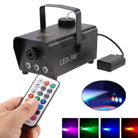 HURRISE 500W RGB LED Light Fog Machine With Remote Control, Energy-saving Stage Fogger Smoke Maker Kit US Plug, RGB LED Fogger, RGB Fog Machine - Smoke Mechine