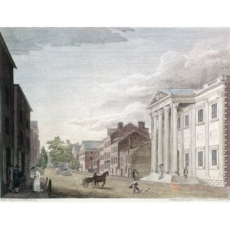 First Bank Of Us 1798 Nthe First Bank Of The United States In Third Street Philadelphia Line Engraving By William Birch   Son 1798 Rolled Canvas Art     18 X 24