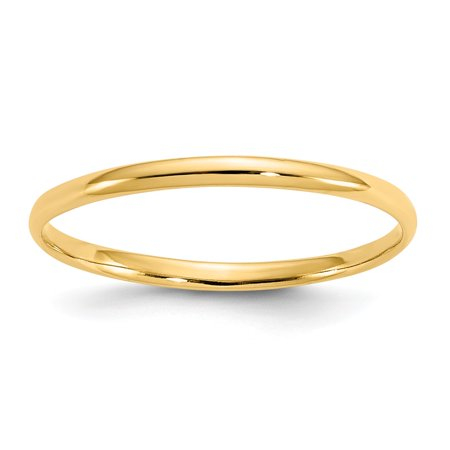 14k Yellow Gold Polished Plain Band for boys or girls Ring - Size 3