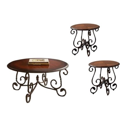 3 Piece Coffee Table Set with Set of 2 End Table and Coffee Table in Cherry 2 Piece Set Coffee Table