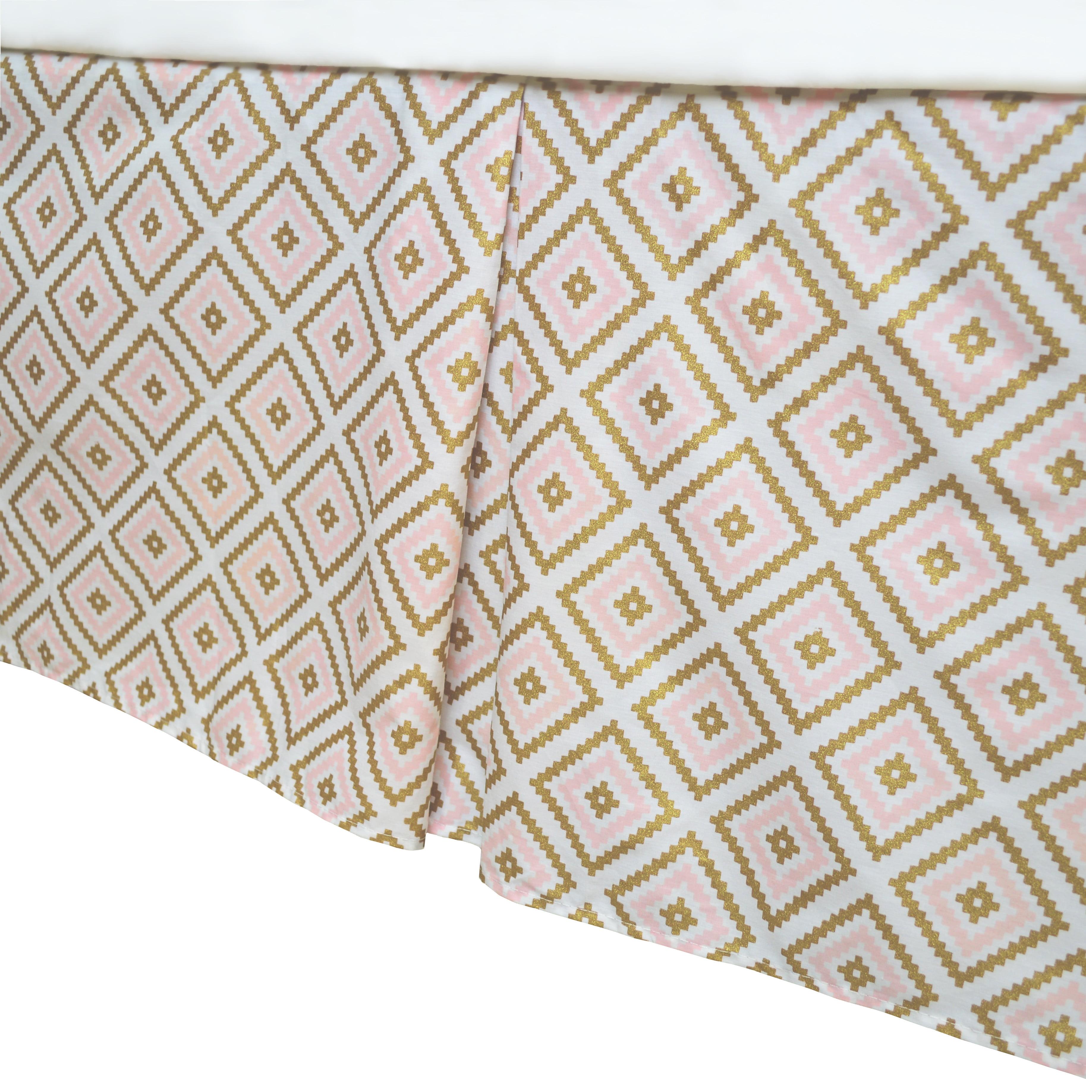 American Baby Company Crib Skirt,Sparkle Gold/PinkKilim