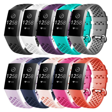 Buckle Band (Luxmo Replacement Bands Compatible with Fitbit Charge 3 and Fitbit Charge 3 SE(10 Pack), Sport Replacement Wristbands with Secure Metal Buckle for Fitbit Charge 3 and Fitbit Charge 3 SE(Small))