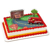 Fire Truck and Station DecoSet with 1/4 sheet Edible Cake Topper  Background