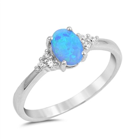 CHOOSE YOUR COLOR Oval Solitaire White CZ Blue Simulated Opal Ring .925 Sterling Silver Band (Blue Simulated Opal/Ring Size 4) 925 Sterling Silver Solitaire