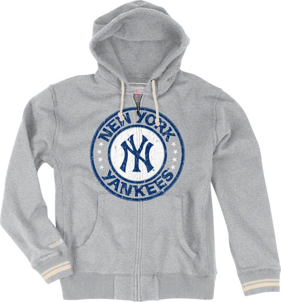 New York Yankees Mitchell & Ness 2013 Vintage Grey Full Zip Premium Sweatshirt