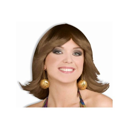 70s Costume Brown Funky Disco Fever Angle Flip Wig