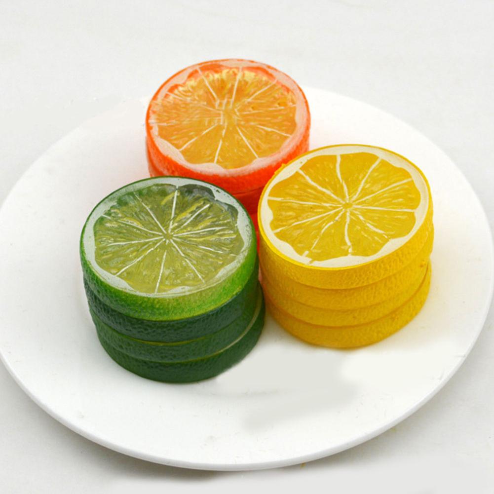 Girl12Queen Hot Lifelike Decorative Artificial Plastic Lemon Slices Fake Fruit Home Decor