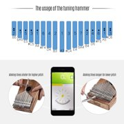 LINGTING K17SEQ 17-key Portable Thumb Piano Kalimba Mbira Swartizia Spp Solid Wood Built-in Pickup with Storage Bag Carry Case Music Book Stickers Tuning Hammer Accompaniment Chain Tassel Decoration
