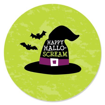Happy Halloween - Witch Party Circle Sticker Labels - 24 Count (Happy Halloween And Happy Birthday)