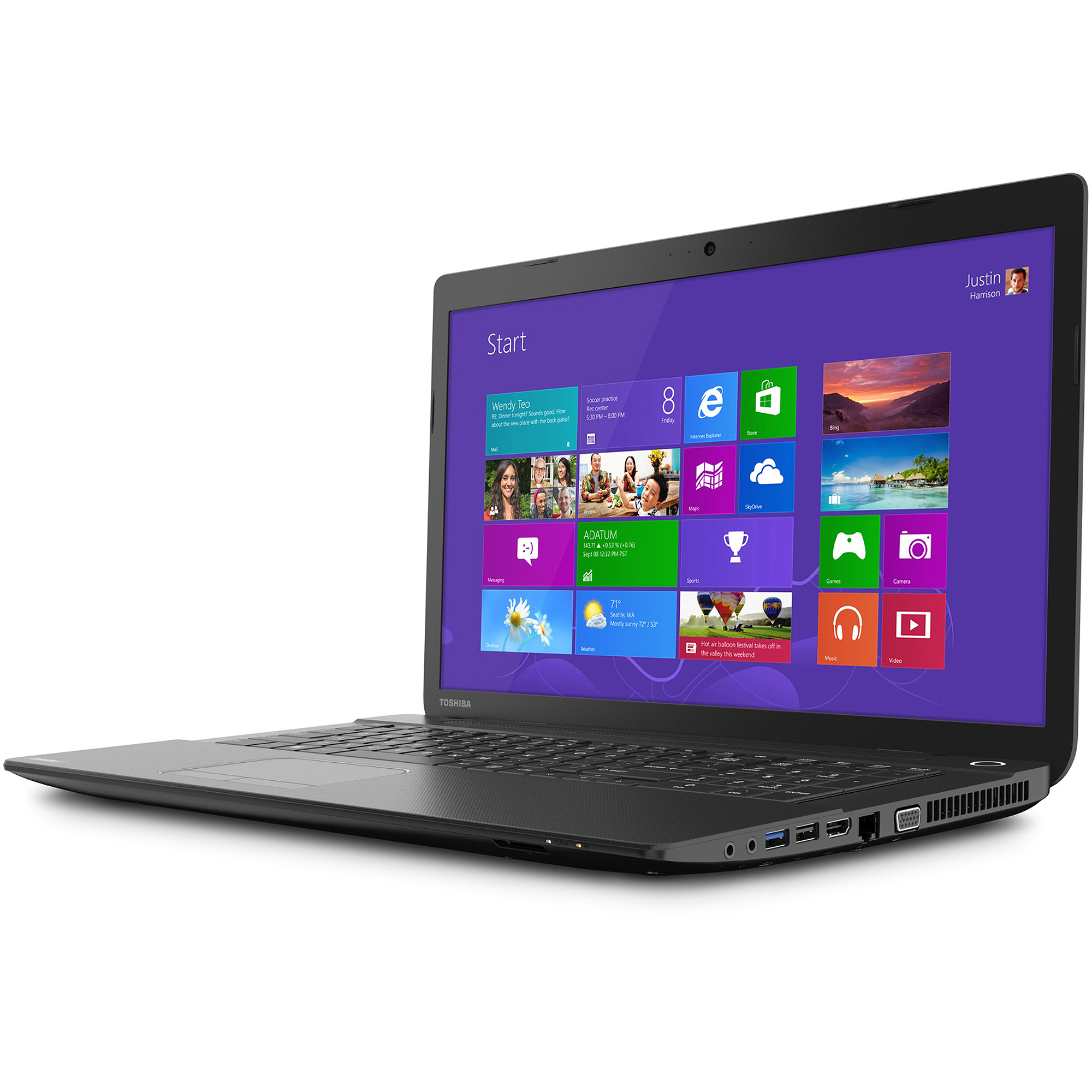 "Toshiba Jet Black 17.3"" Satellite C75D-B7230 Laptop PC with AMD Quad-Core A6-6310 Accelerated Processor, 6GB Memory, 750GB Hard Drive and Windows 8.1"