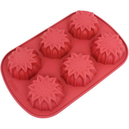 Muffin Mold (Freshware 6-Cavity Sun Flower Silicone Mold for Muffin, Soap, Brownie, Cornbread, Cheesecake and Pudding, CB-206RD)