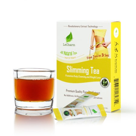 - Slimming Tea Instant Tea on the Go LeCharm 100% Natural Tea Extract, Unsweetened Drink Instant Crystallized Tea Powder for Pure Water, Iced Tea and Hot Tea(10 Sachets)