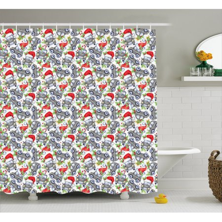 Cars Shower Curtain, Christmas Themed Hand Drawn Cars with Santa Hats and Presents on Winter Holiday, Fabric Bathroom Set with Hooks, 69W X 84L Inches Extra Long, Lime Green Grey, by Ambesonne - Cat With Christmas Hat